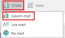 The option to add a column chart
