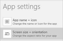 Option to change the screen size and orientation of an app