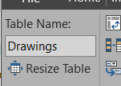 """Umbenennen der Tabelle in """"Drawings"""""""