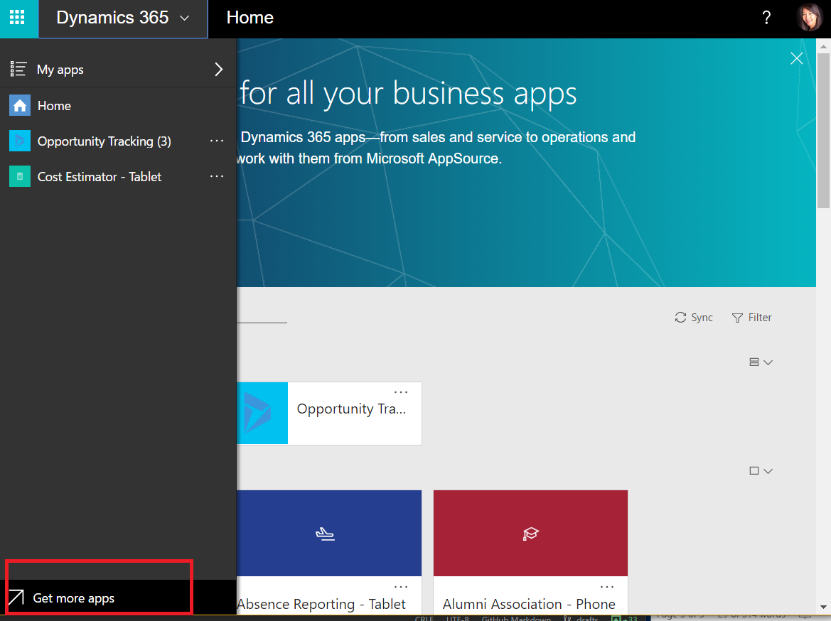 Apps in Dynamics 365