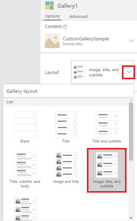 Choose gallery layout