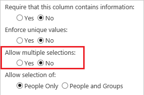 Options to allow multiple selections for a Person or Group column
