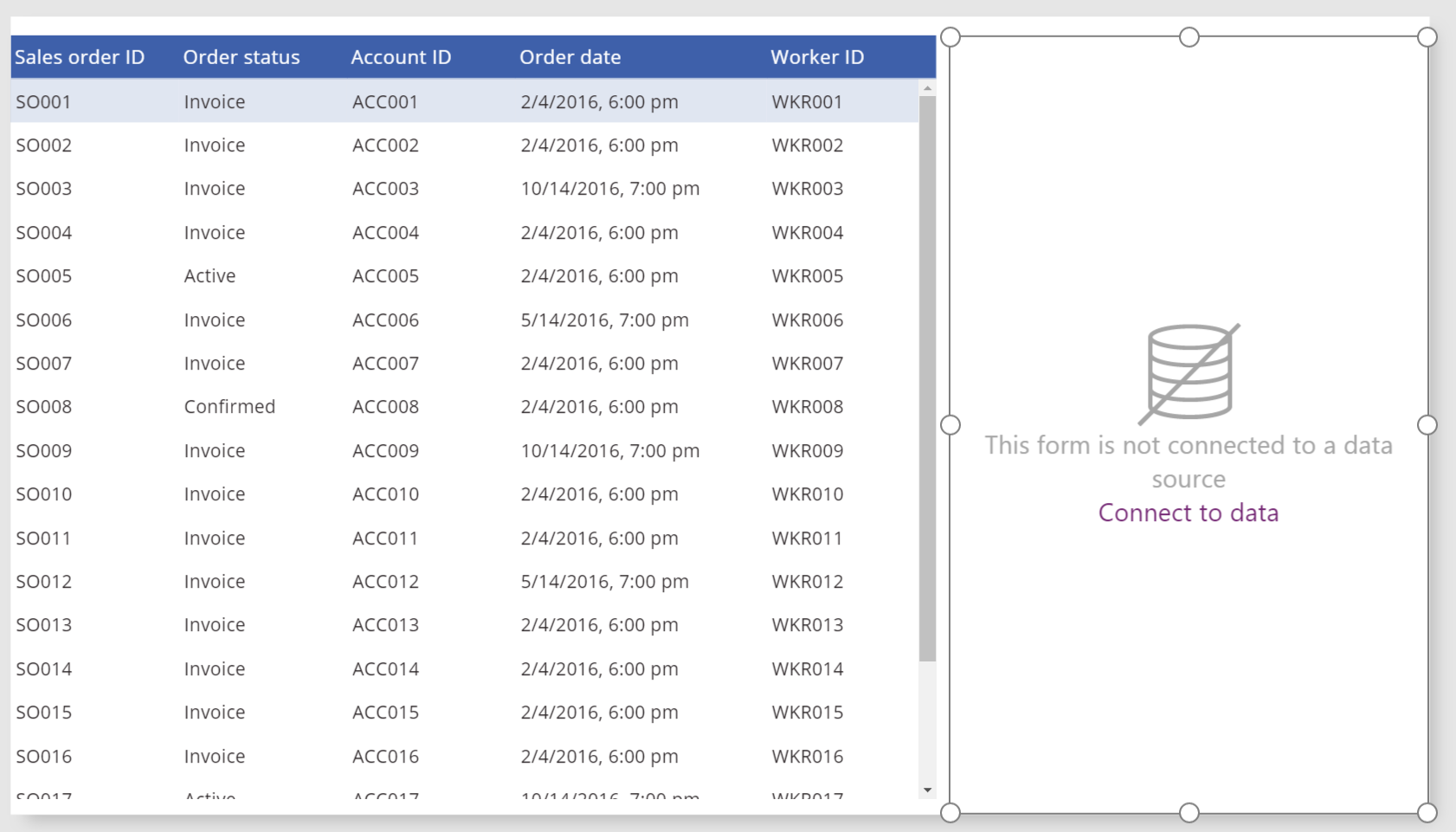 Data table and **Edit** form on the same screen