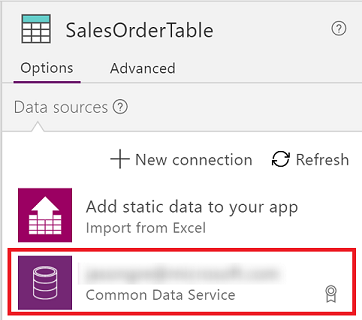 Select the connection for your data source