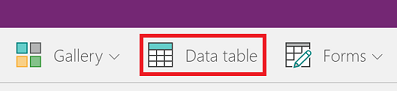 Add a Data table control to a screen