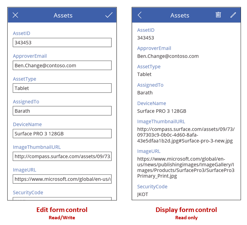 Example form and form view controls