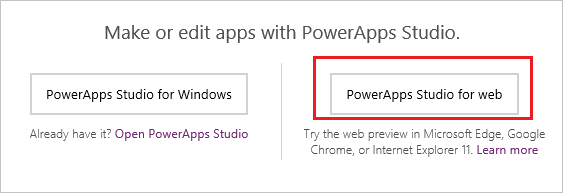 Open PowerApps Studio for web