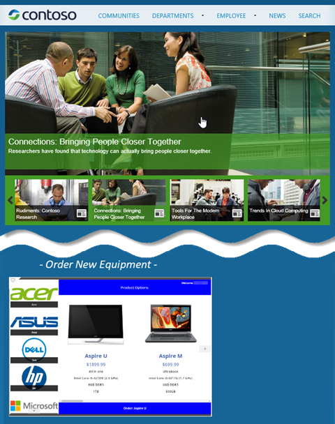 Contoso website with embedded app