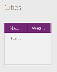 Collection showing Seattle with a blank Weather field