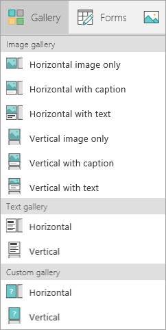 PowerApps gallery options