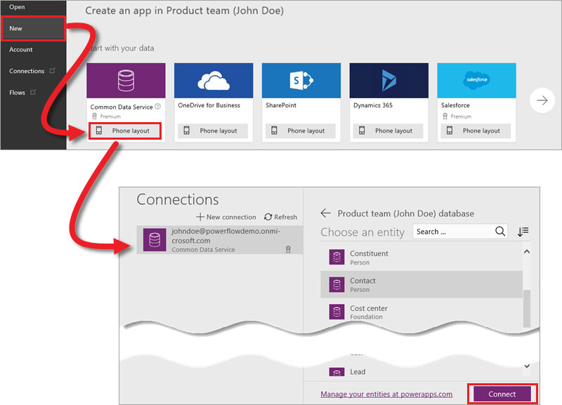 Connect to entity in PowerApps Studio