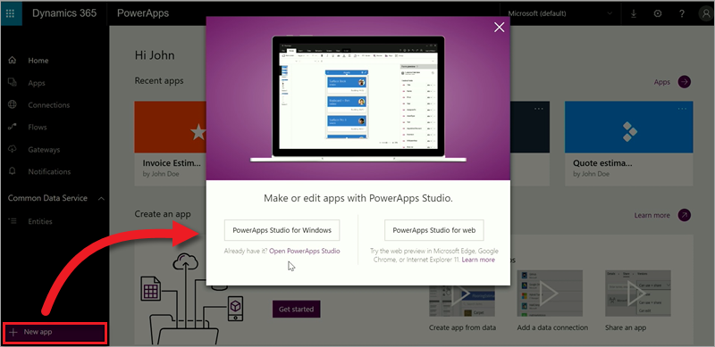 Get started on web.powerapps.com