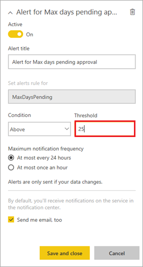 Set alert threshold and save