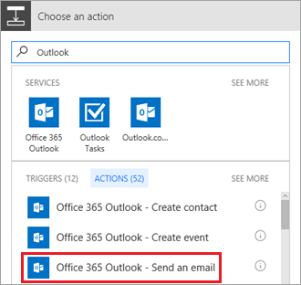 Send email action