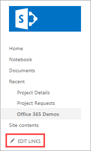 Edit SharePoint site links