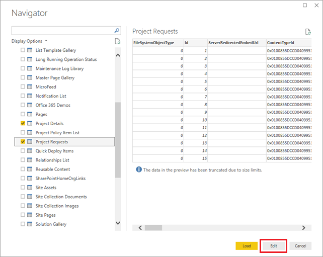 Select SharePoint lists