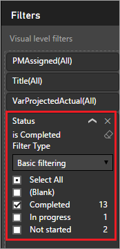 Filter by Status column
