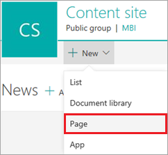 New SharePoint page