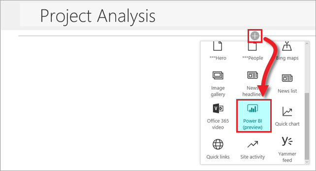 Add Power BI page part