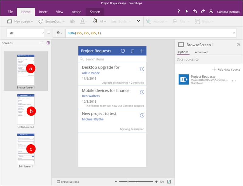 PowerApps Studio with thumbnail view