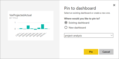 Pin chart to existing dashboard