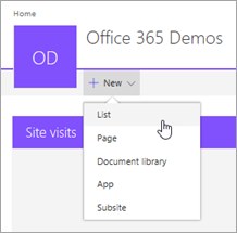 Create new SharePoint list