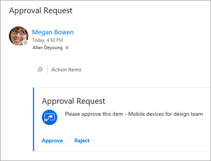 Approval request email