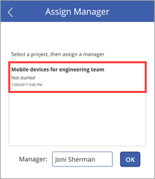 Manager assigned to project