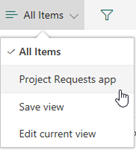 Project Requests app view