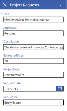 Project requests edit form