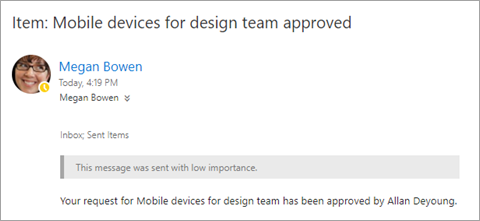 Approval email to requestor