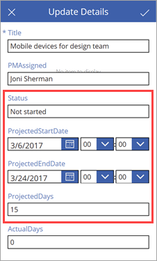 Update project details
