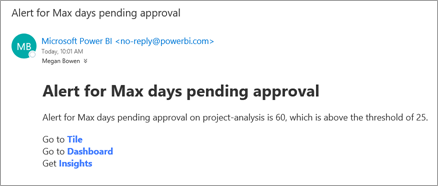 Alert email from Power BI
