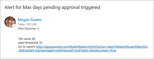 Alert email from Microsoft Flow