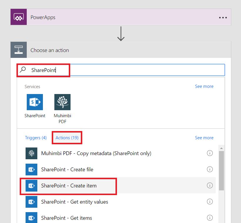 Option to create a SharePoint item
