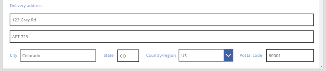 Sales order delivery address third line exactly positioned