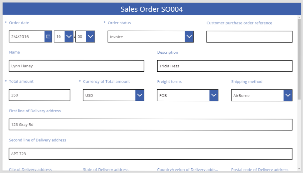 Sales order in 12 column layout with resizing