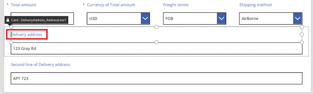 Sales order delivery address renaming the first line label