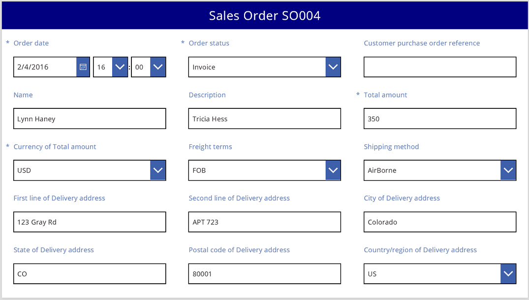 Sales order in a basic, three-column layout