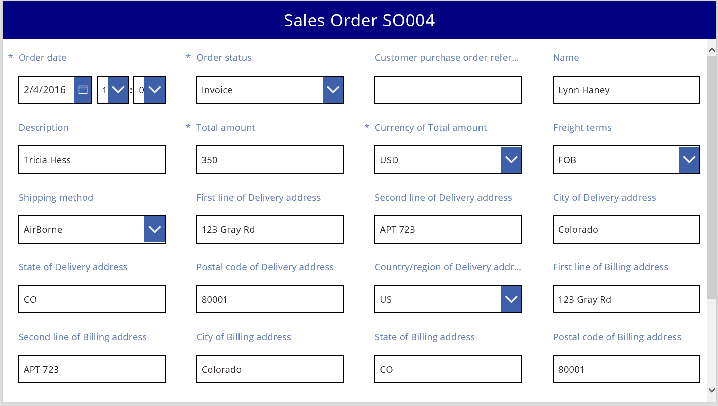 Sales order in a basic four-column layout