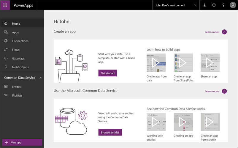 The web.powerapps.com site