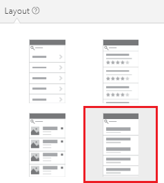 Layout option with a heading and a description