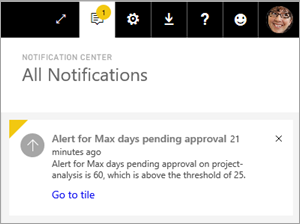 Centro notifiche di Power BI