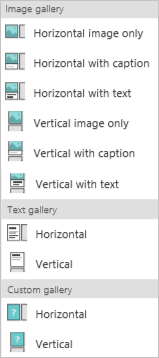 Options in the Gallery category