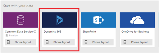 No PowerApps, selecione o conector do Dynamics 365