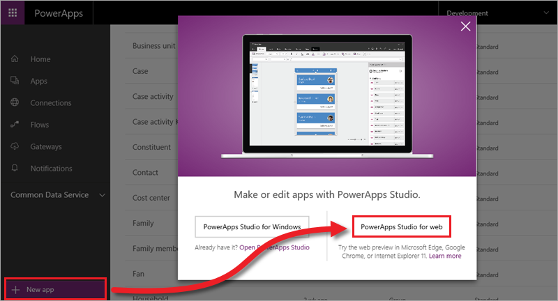Novo aplicativo no PowerApps Studio para Web