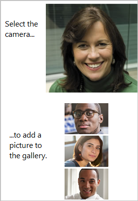 A camera that, when a user selects it, adds pictures to a gallery