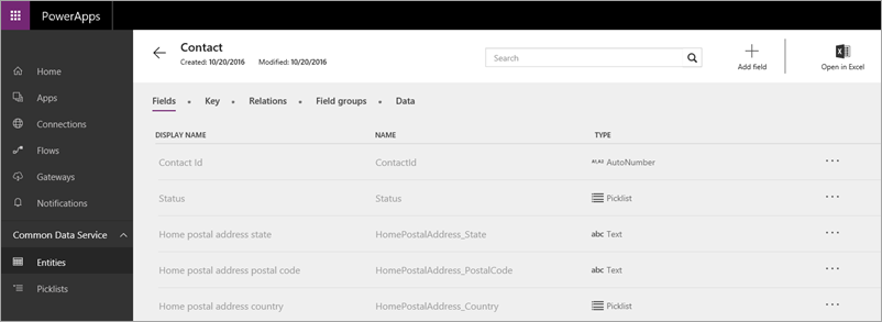PowerApps contact entity