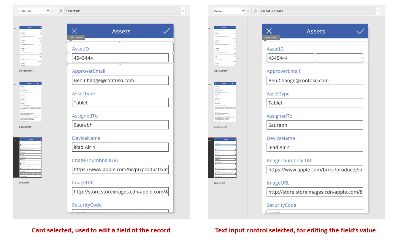Edit card and card controls selected in the authoring experience