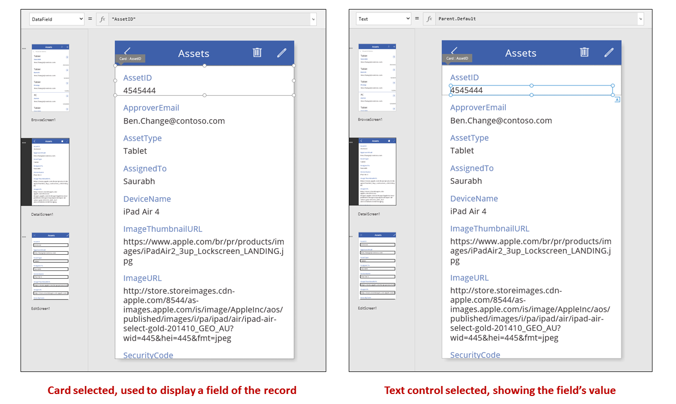 Detail card and card controls selected in the authoring experience